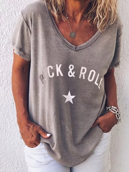 Rock Printed V Neck Casual Tee Shirts