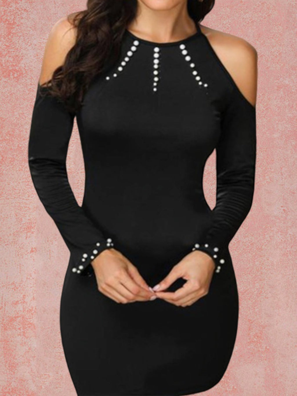 Black Friday Cyber Round Neck Sheath Beaded Dresses