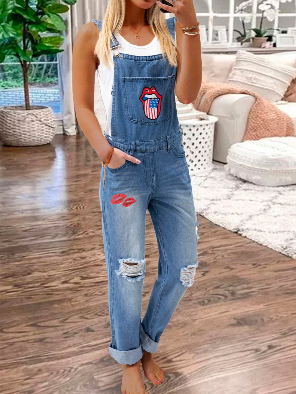 Women's Casual Holiday Ripped  Denim Bib Pants