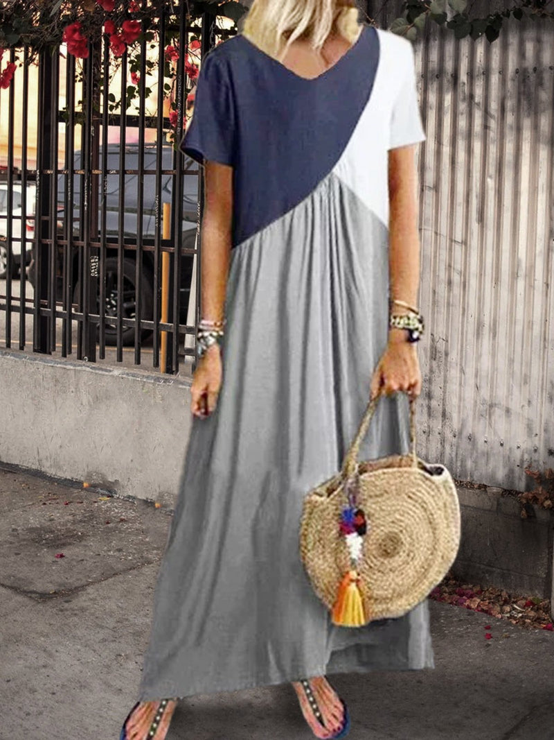 Color Block V Neck Plus Size Maxi Dresses Rikkishop