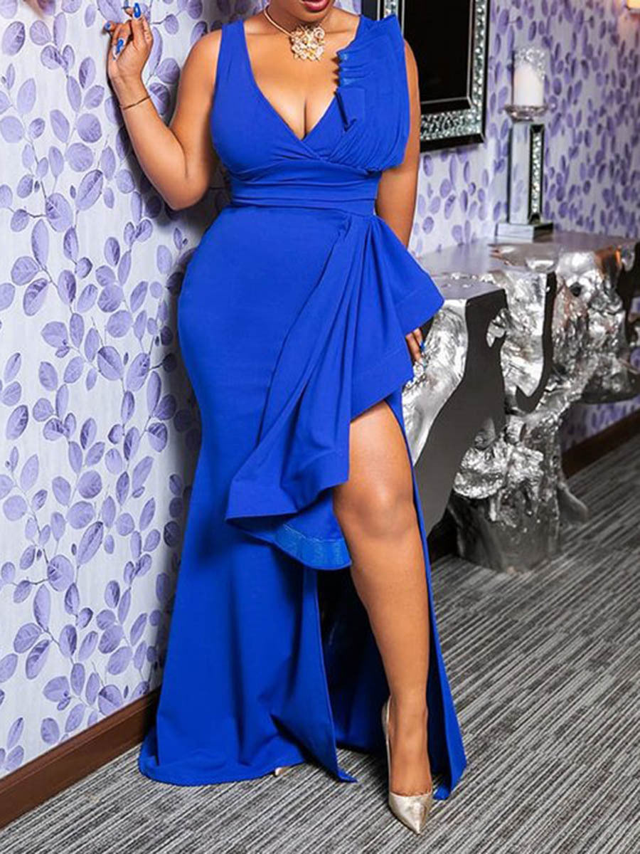 Blue Plus Size Evening Gowns Sexy Ruffled Sleeveless Bodycon Maxi Dresses Rikkishop