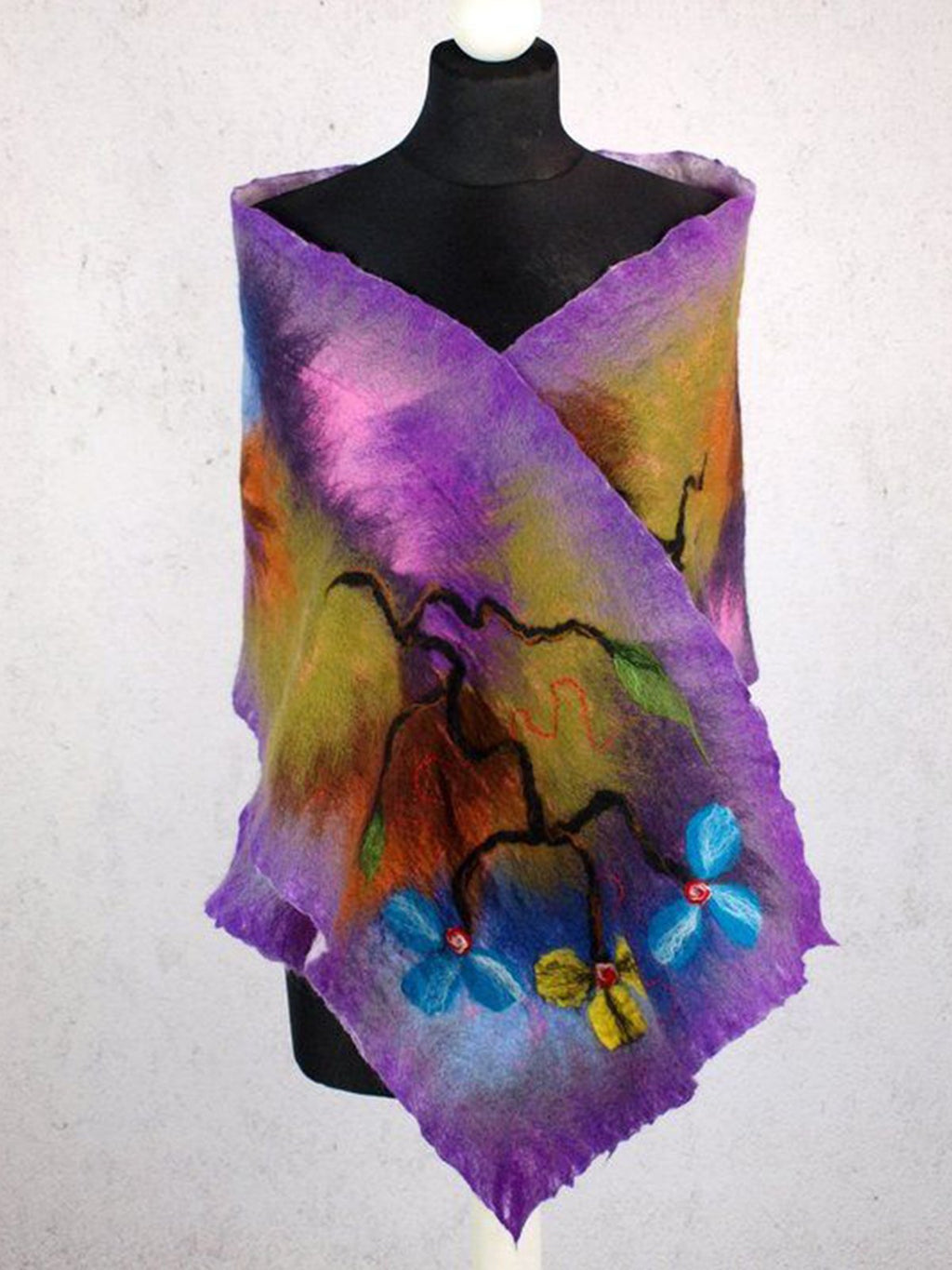 Purple Plant Casual Scarves & Shawls