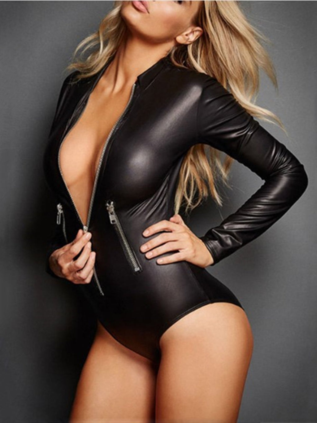 Black Pu Sheath Zipper Sexy Bodysuit Rikkishop