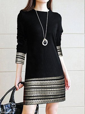 Black Paneled Long Sleeve Casual Dresses