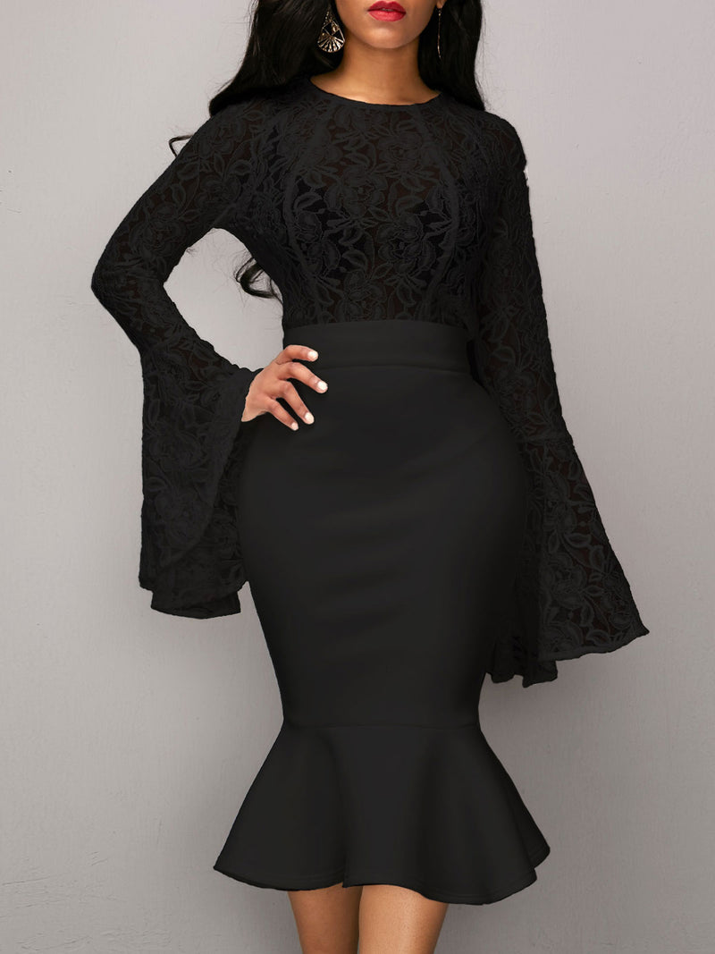 Solid Color Lace Flare Sleeve Hollow Top And Skirt Suit