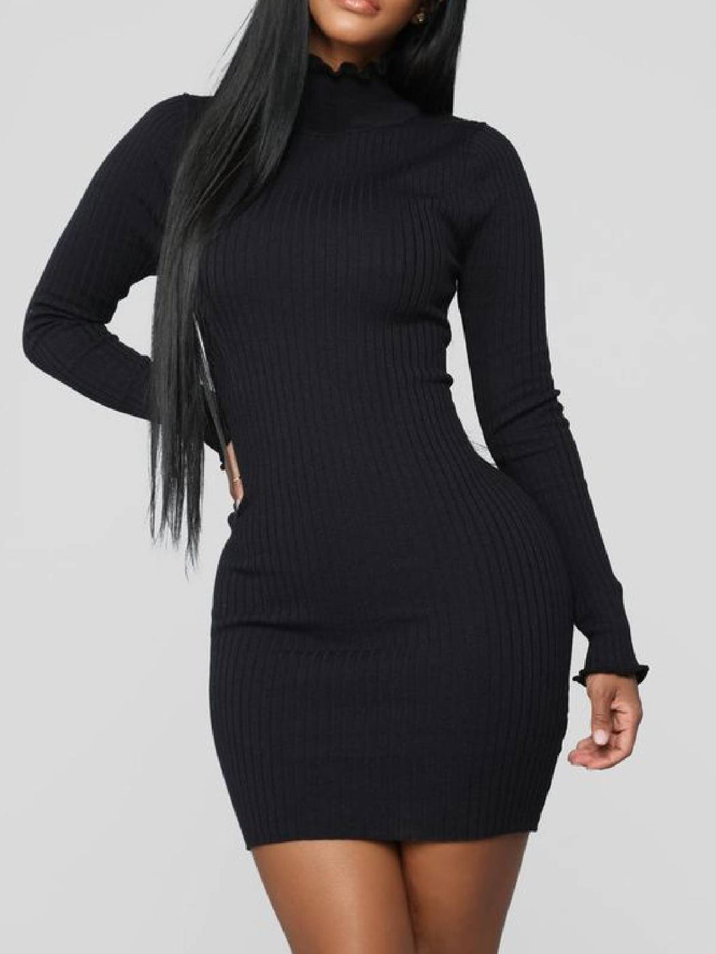 Black Plus Size Knitted Long Sleeve Stand Collar Day Work Pencil Bodycon Dress Rikkishop