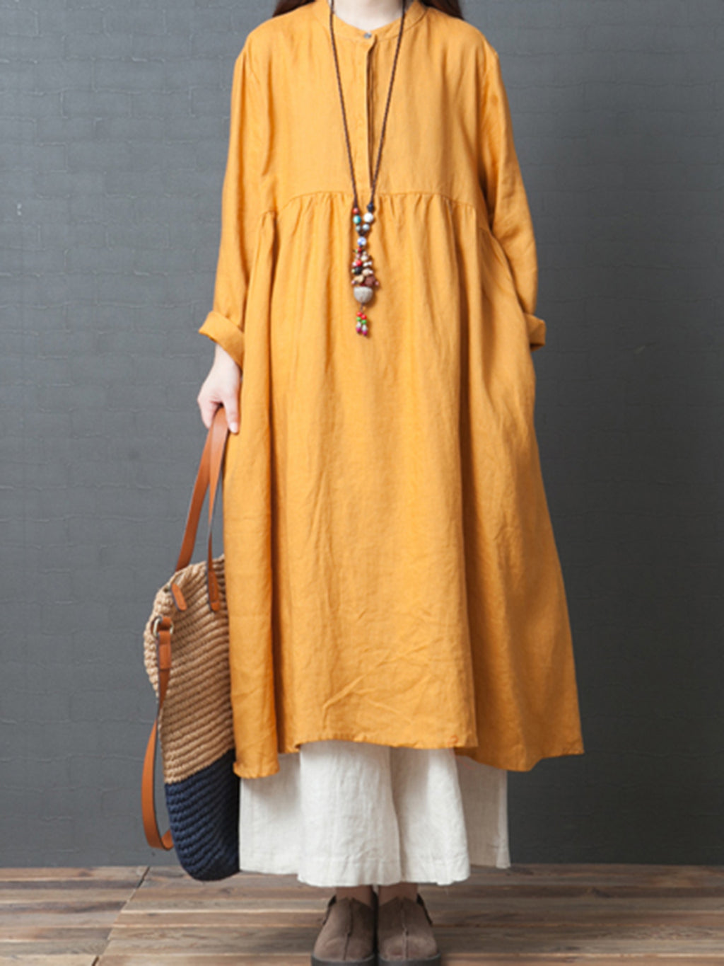 Linen Solid Casual Crew Neck Casual Dress