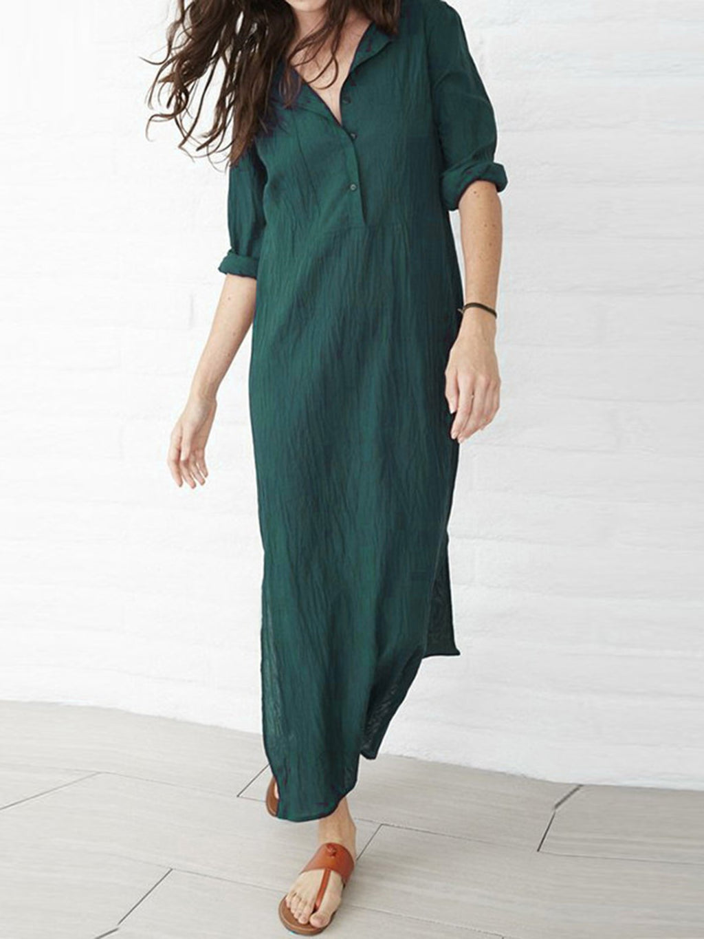 Women Fashion Casual Slit Plus Size Cotton Dress