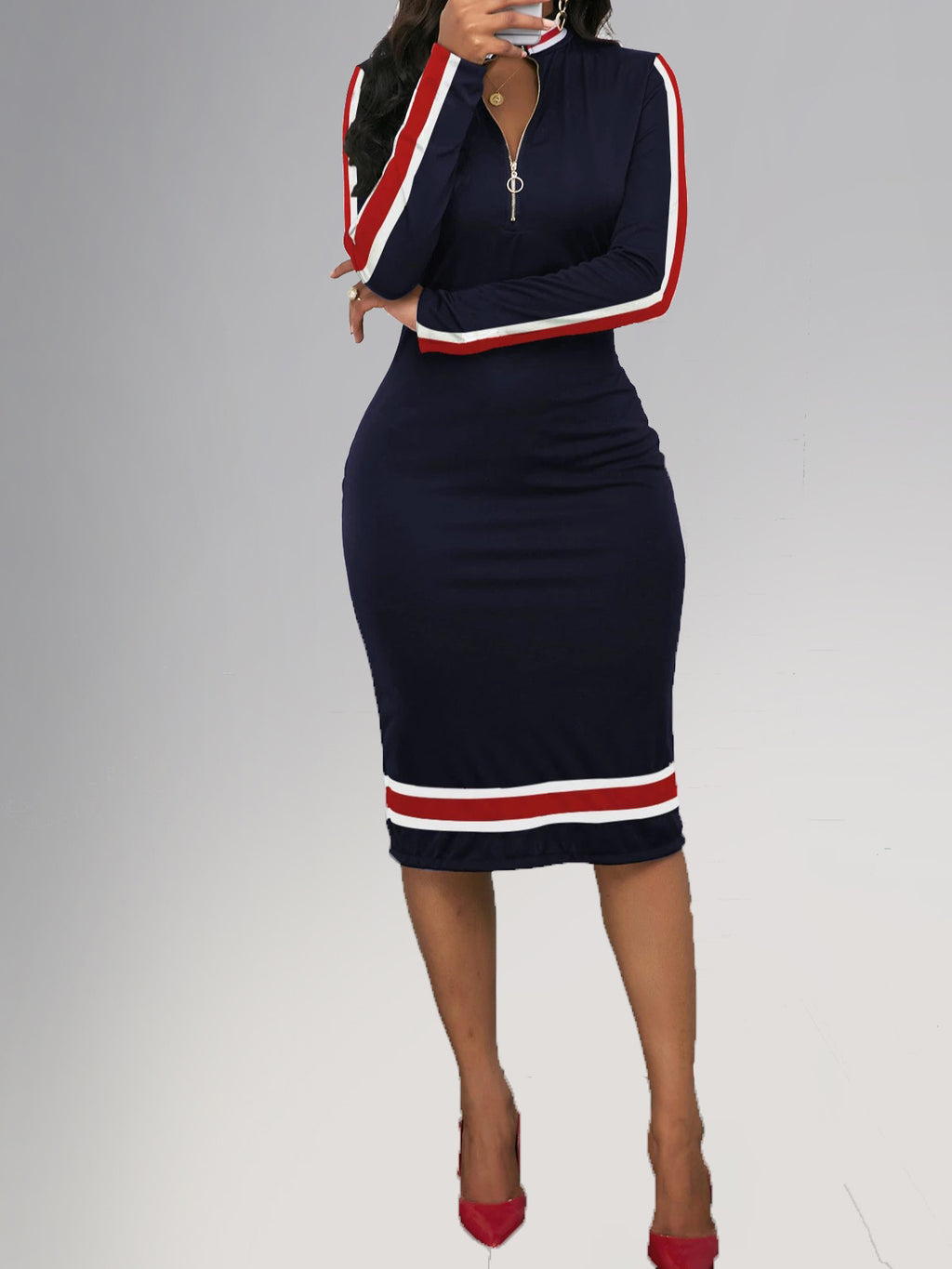 Casual Plus Size Basic Sports Style Purplish Blue V Neck Long Sleeve Bodycon Dress Rikkishop