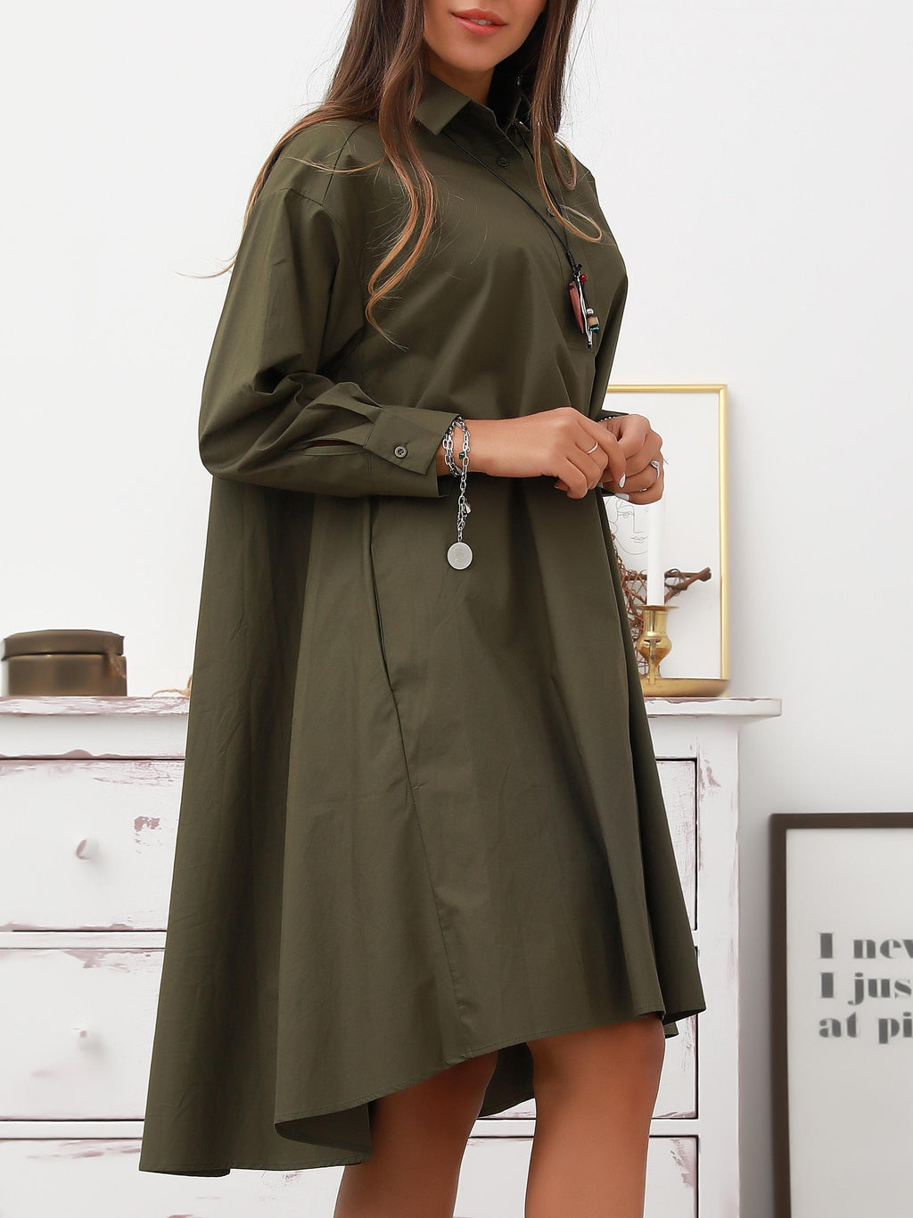 Army Green Holiday Shirt Collar Dresses