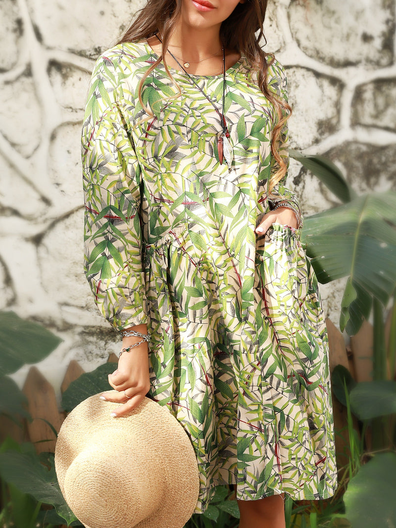 Green Shift Long Sleeve Dresses