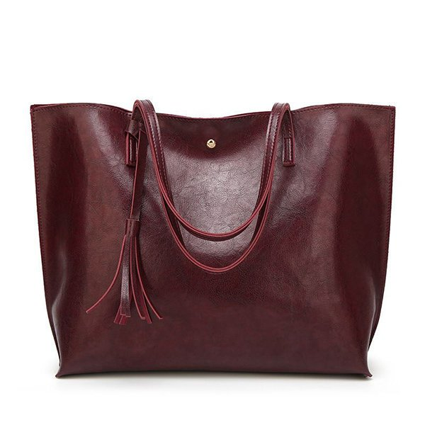 Women Fashionable Oil Wax Large Capacity Classic PU Leather Handbag