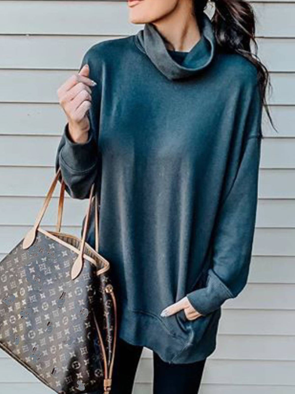 Blue Casual Turtleneck Shirts & Tops