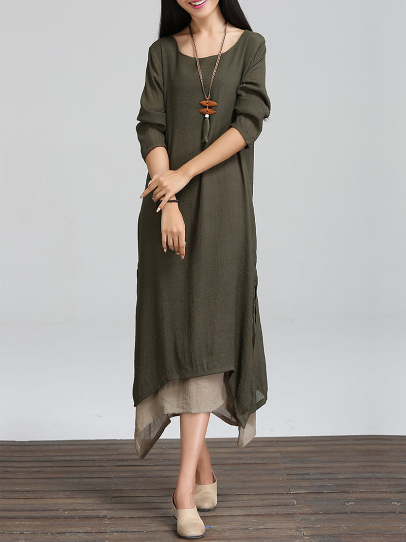 Coffee Long Sleeve Linen Cotton Crew Neck Casual Dress