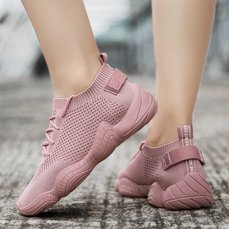 bafcf2a939e0 Women Knit Fabric Sneakers Casual Comfort Slip On Fashion Shoes