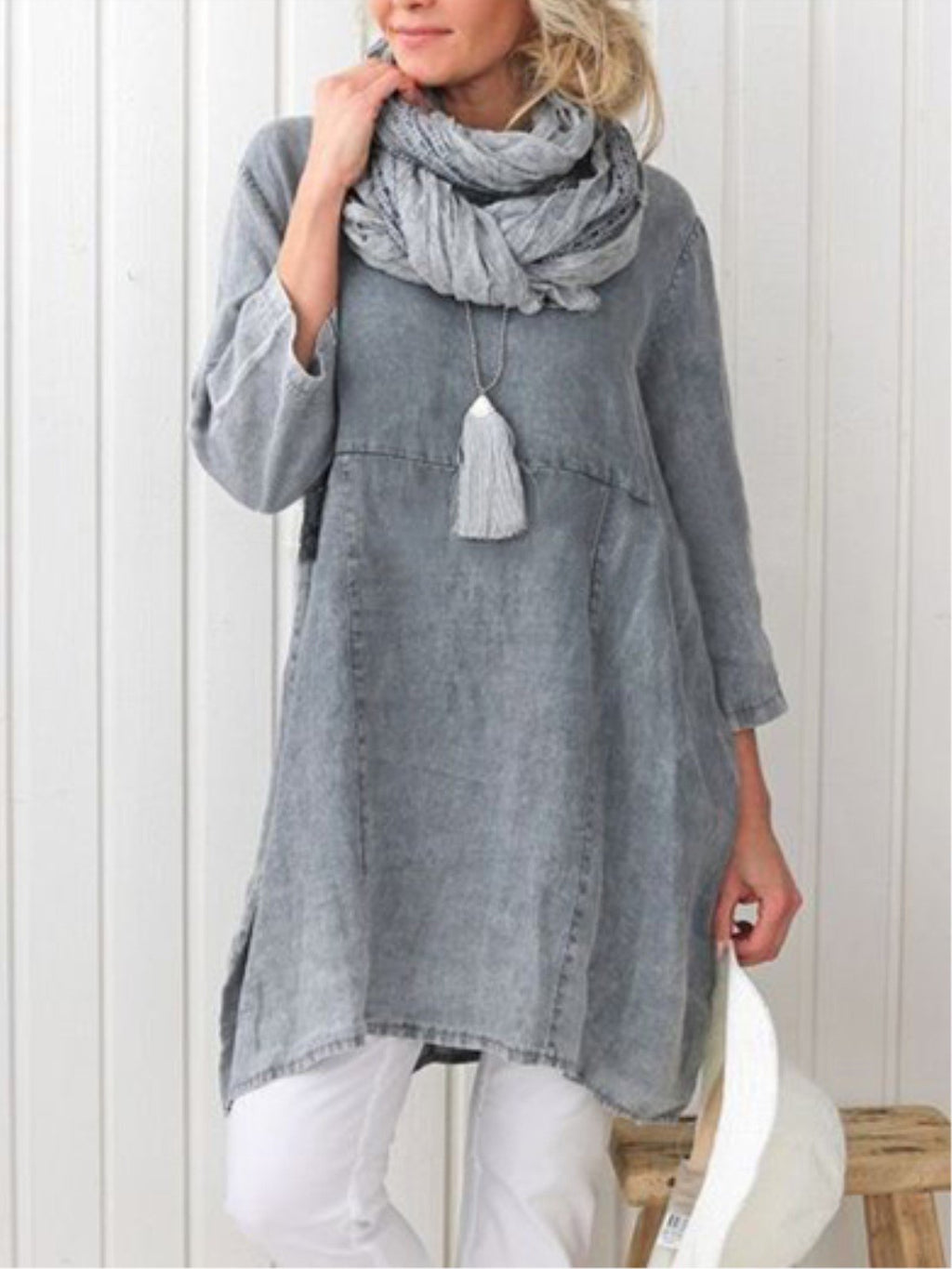 Casual Plain Long Sleeve Linen Plus Size Dress Rikkishop