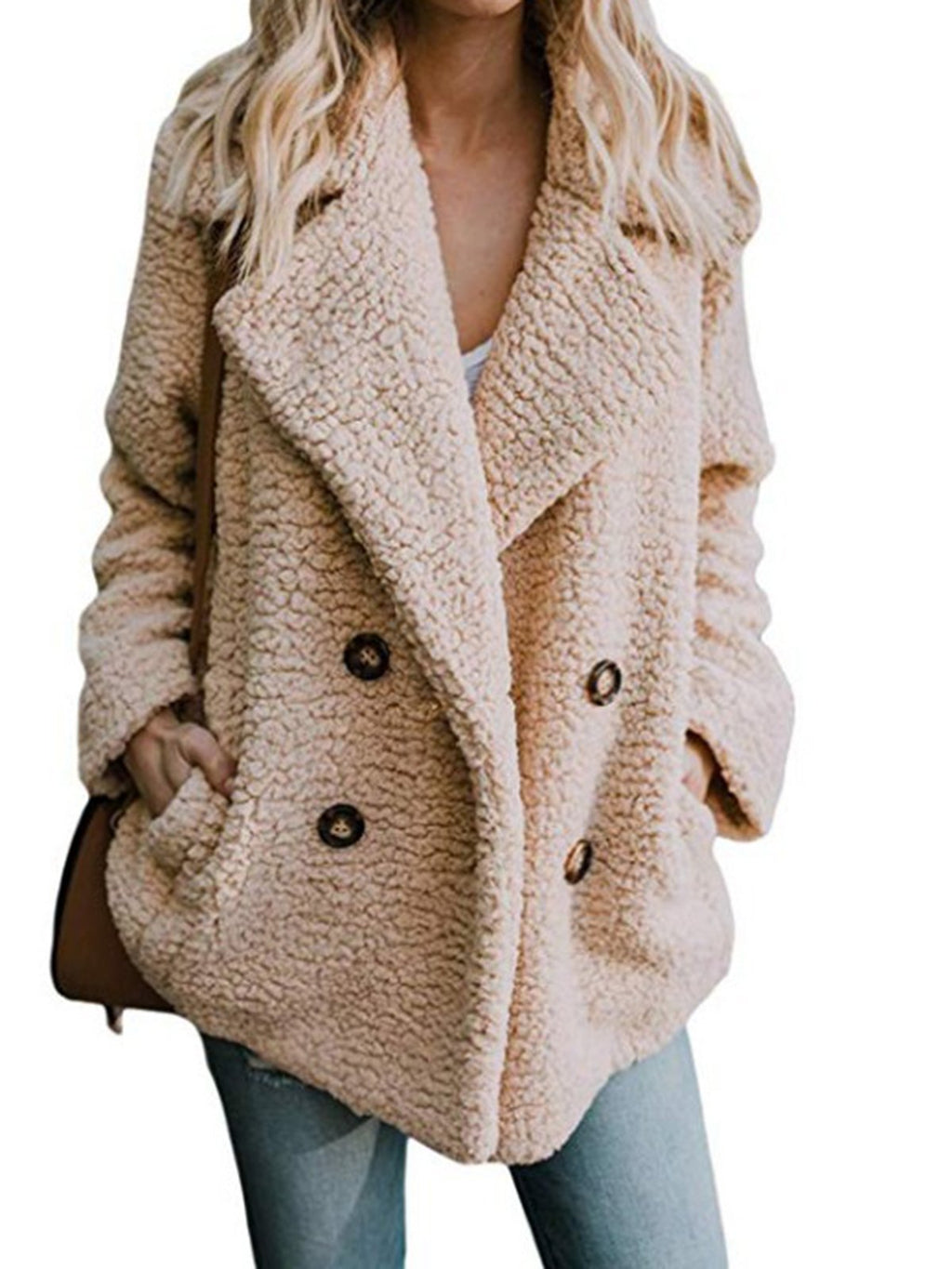 Rikkishop Khaki Buttoned Casual Quilted Teddy Bear Coat