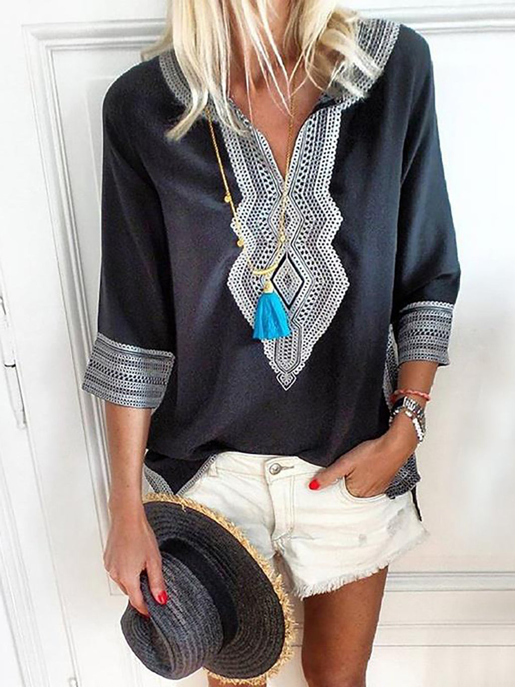 V Neck Geometric 3/4 Sleeve Blouses RIKKISHOP