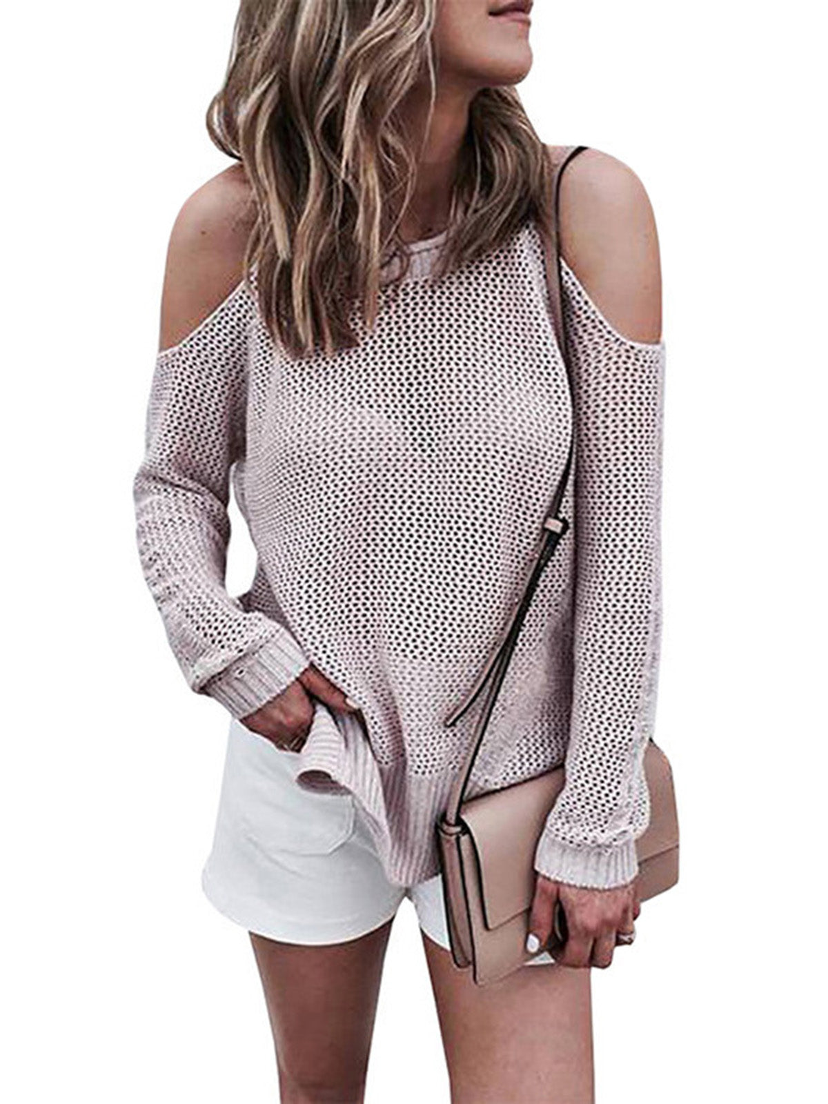 6bc08560b6 Women Round Neck Long Sleeve Hollow Off Shoulder Knit Sweater. Women Round  Neck Long Sleeve Hollow Off Shoulder Knit Sweater