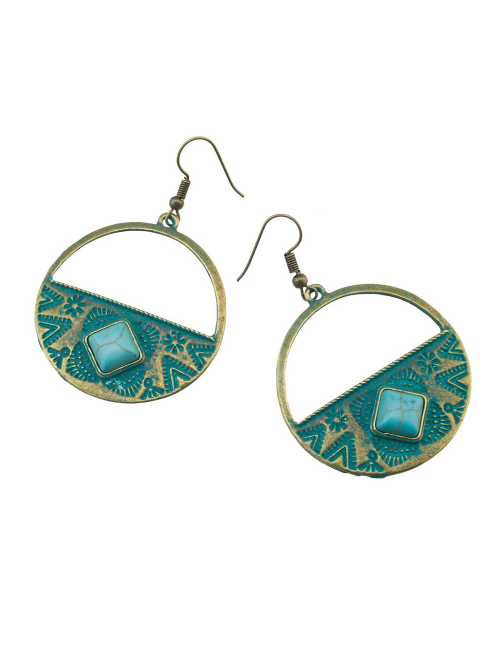 Green Alloy Vintage Earrings