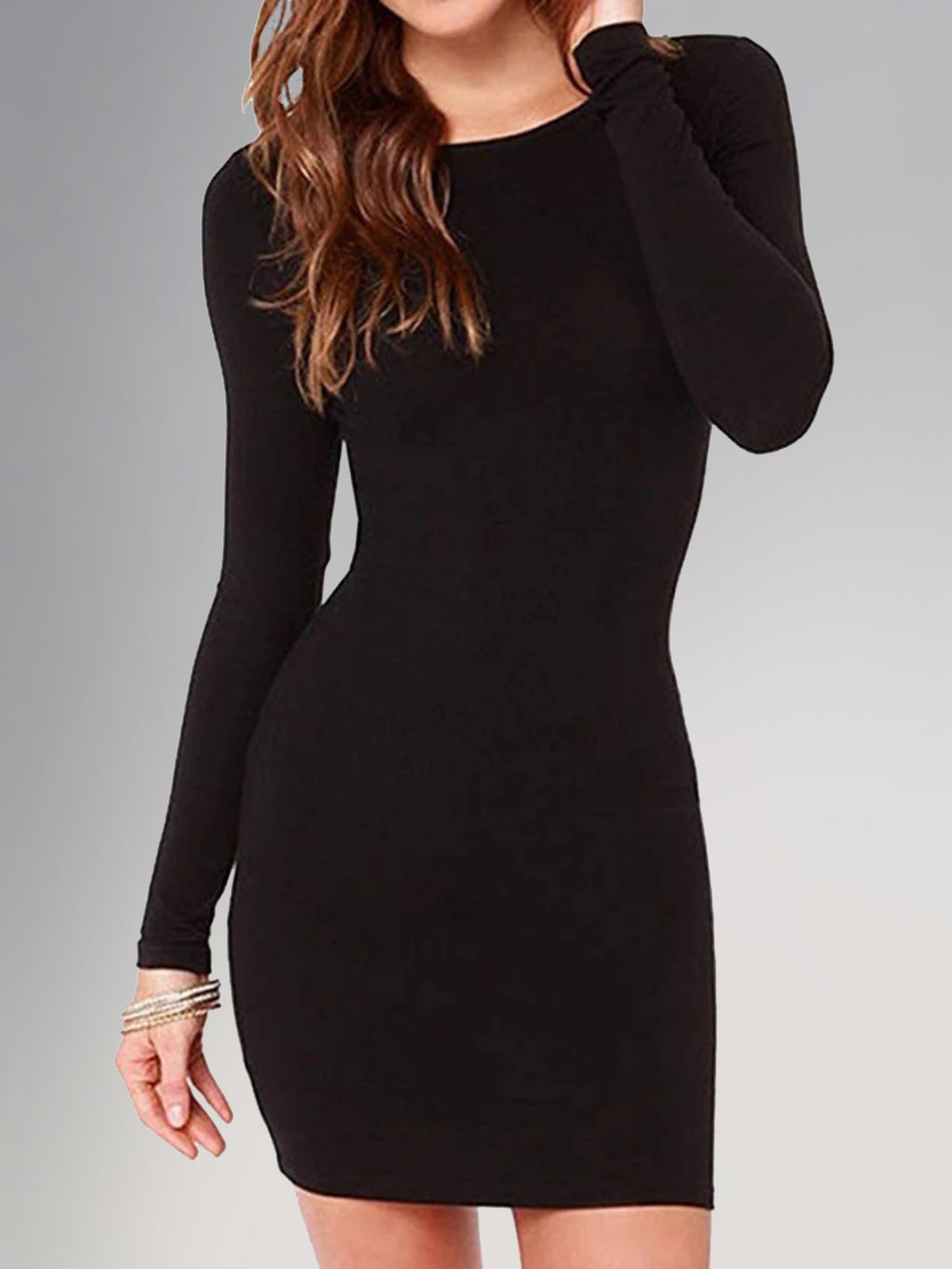 Basic Plus Size Long Sleeve Round Neck Long Sleeve Bodycon Dress Rikkishop
