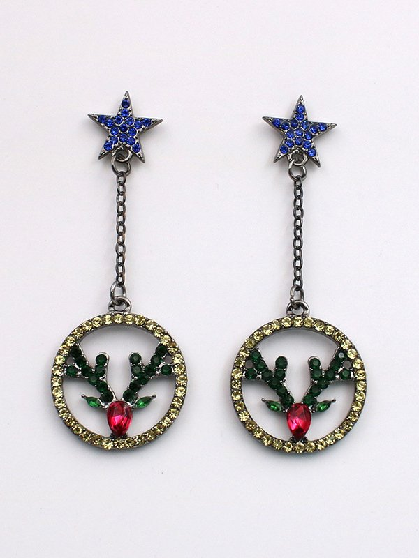 Christmas Green Alloy Casual Earrings