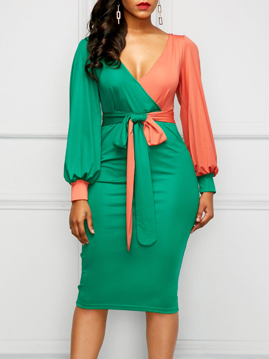 Green Lantern Sleeve Belted Plus Size Color Block V-Neck Long Sleeve Bodycon Midi Dress Rikkishop