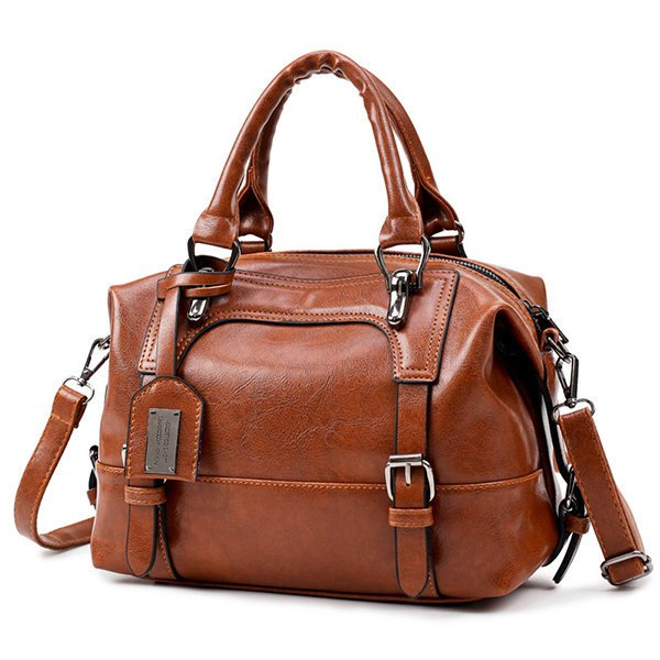 Mult -slots Retro PU Leather Boston Handbag Crossbody Bags