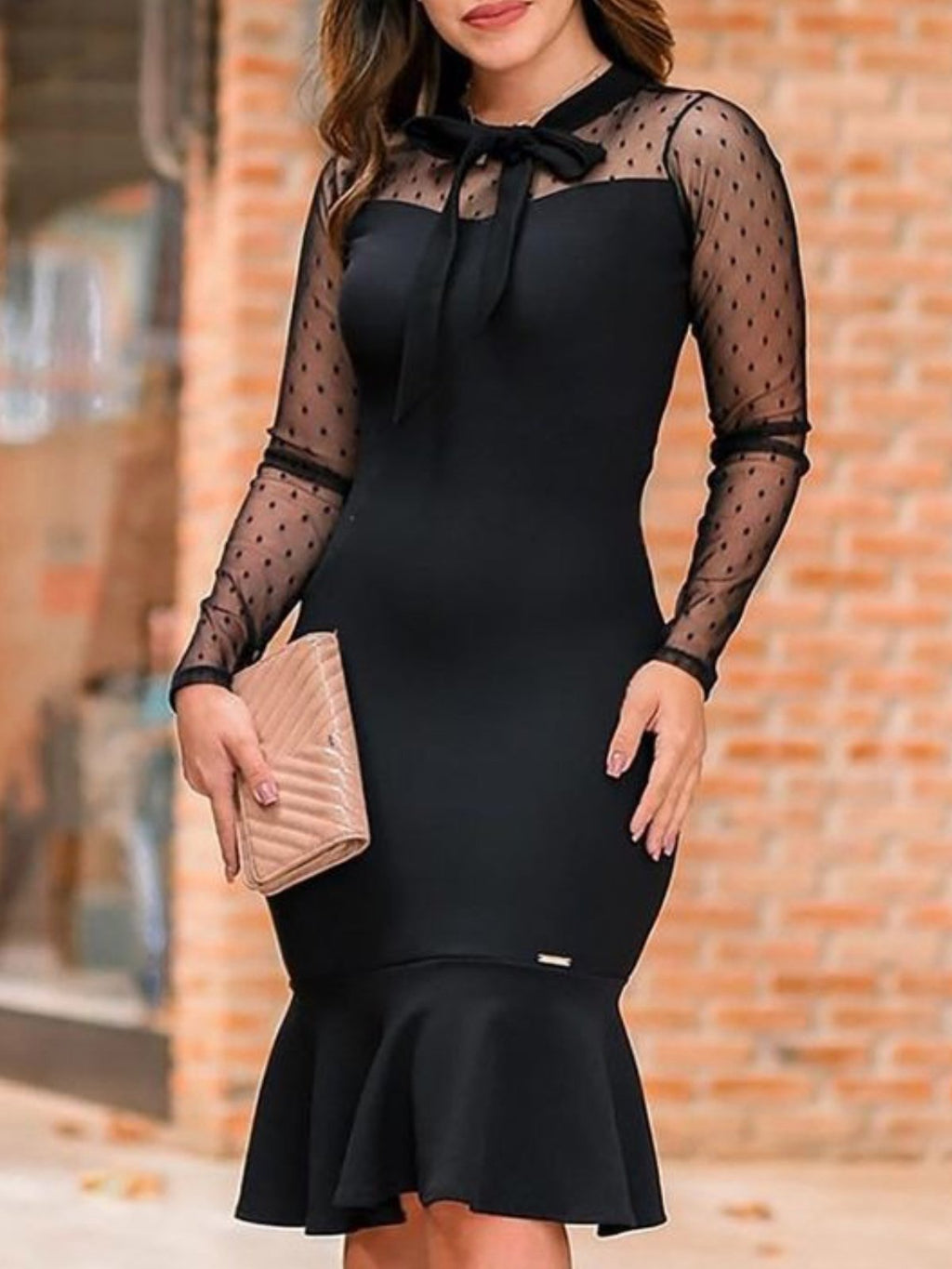 Lace Black Elegant Long Sleeve Plus Size Bodycon Day Dress Rikkishop