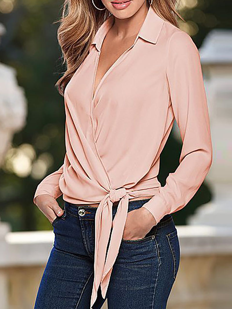 Paneled Long Sleeve Bow Shirts