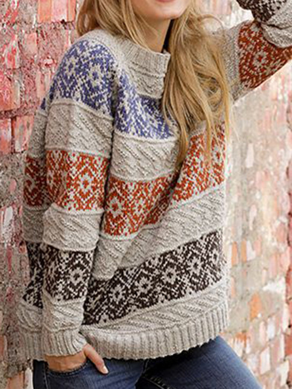 Women Printed Knitted Vintage Sweaters