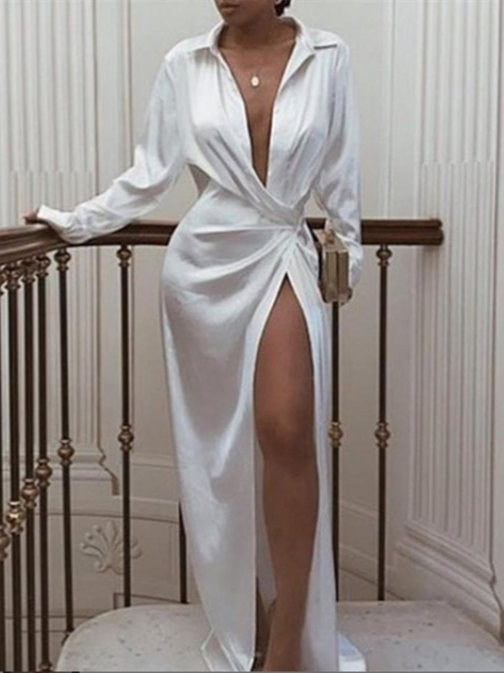 Sexy Long Sleeve Casual V Neck Wrap Shirt Party Maxi Dress Rikkishop