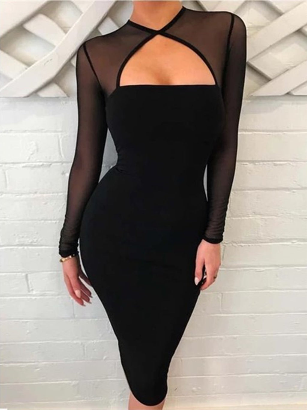 Black Sheer Mesh Panel Long Sleeve Dress Rikkishop