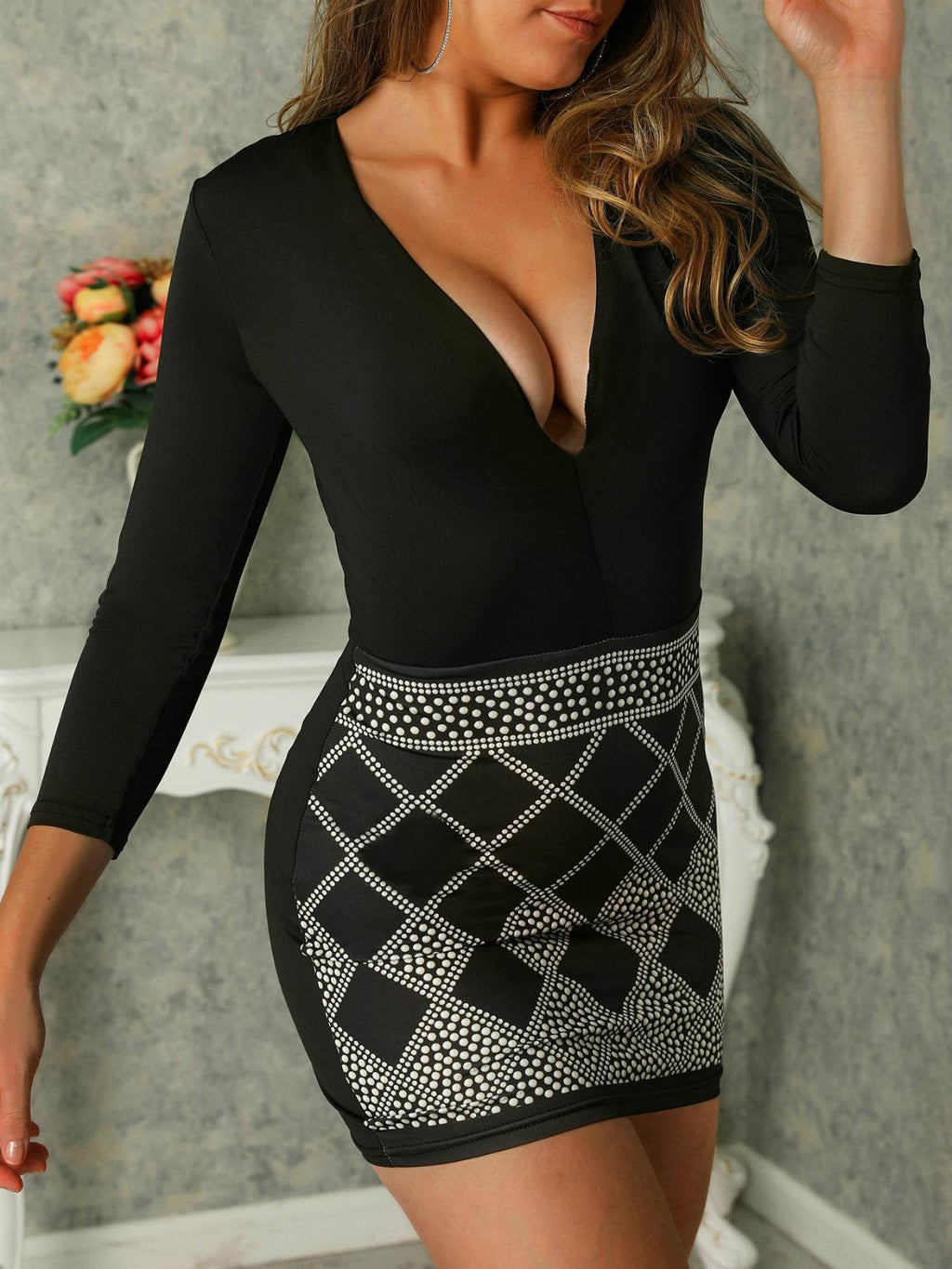 Black Plus Size Patchwork Sexy Long Sleeve Bodycon Dresses Rikkishop