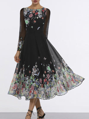 Black Floral Crew Neck Elegant A-Line Dress