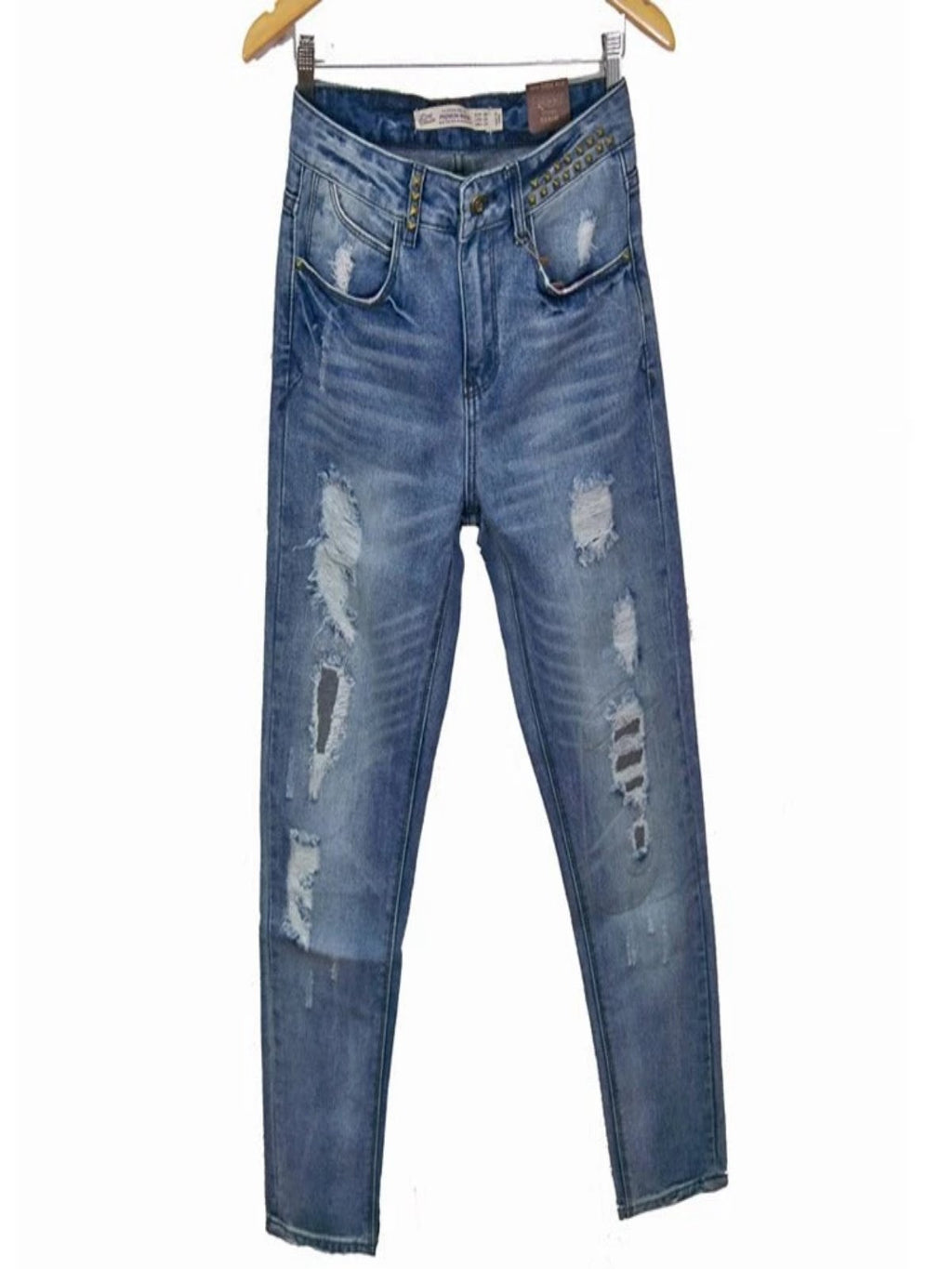 Purplish Blue Ripped Denim Casual Pants