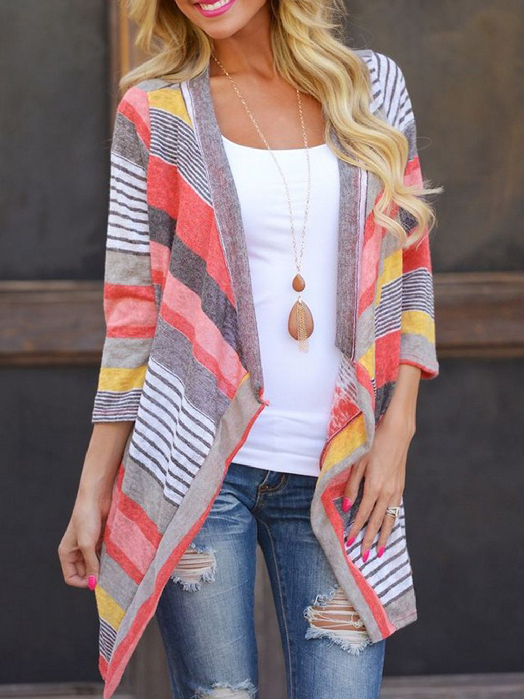 Long Sleeve Shift Casual Printed Striped Cardigan