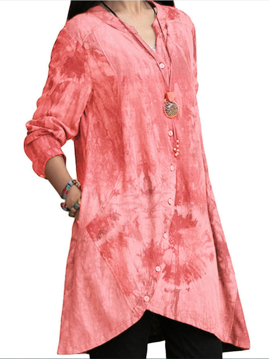 5 Colors Asymmetric Stand Collar Tunic Long Shirts