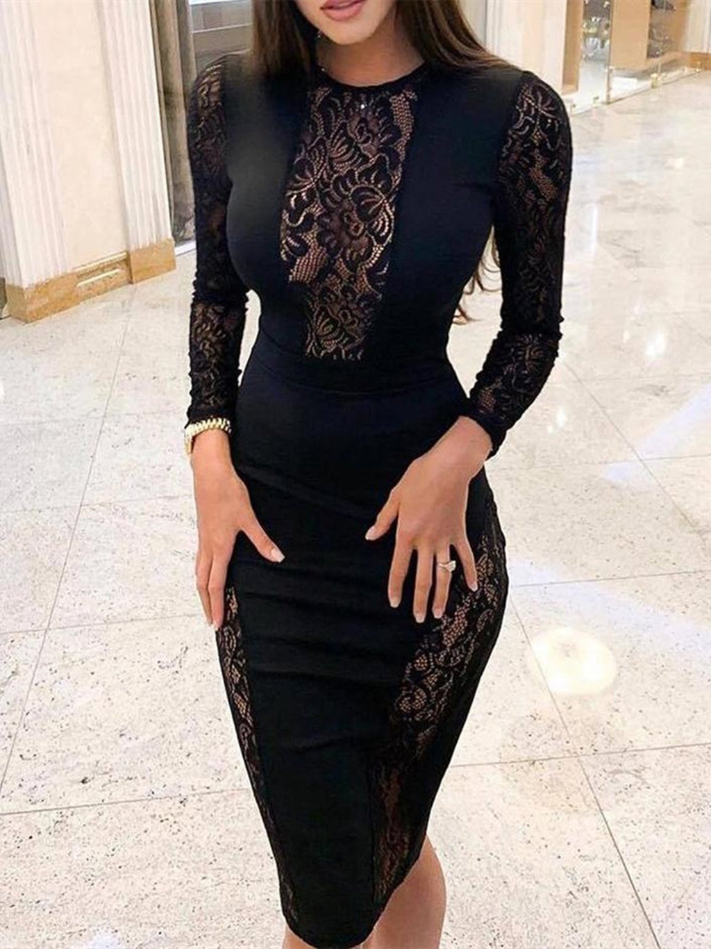 Black Lace Long Sleeve Midi Dresses Rikkishop