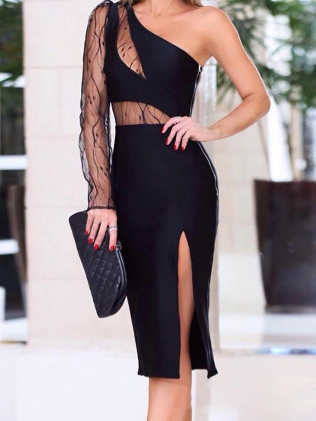 Black Single Sleeve Slit One Shoulder Mesh Overlay Homecoming Bodycon Dresses Rikkishop