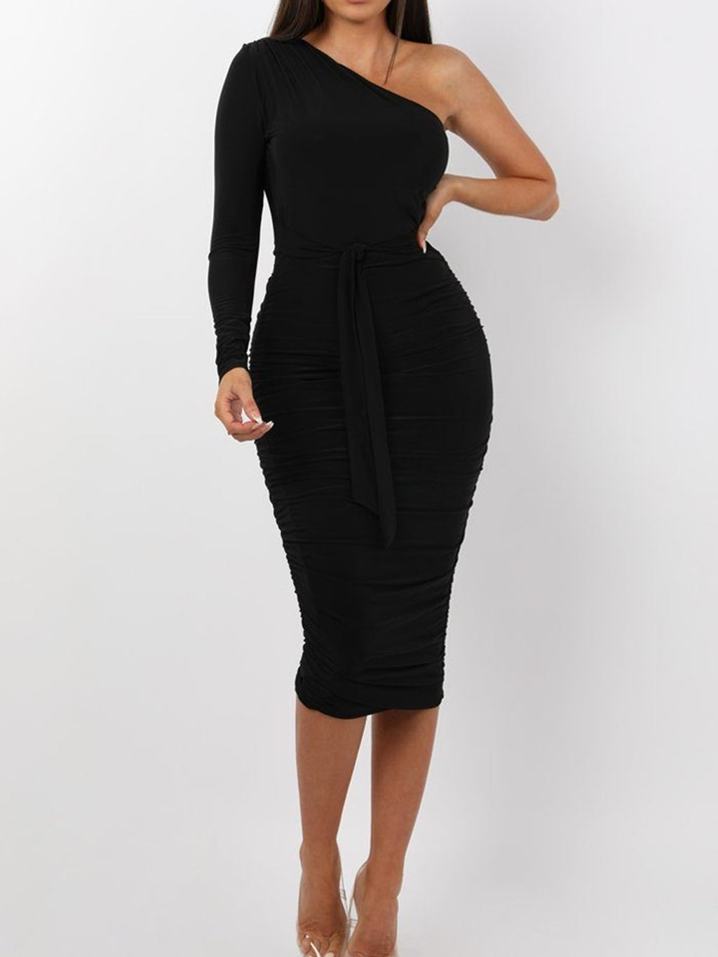 Black Plus Size Basic One Shoulder Ruched Slinky Sexy Bodycon Midi Dress Rikkishop