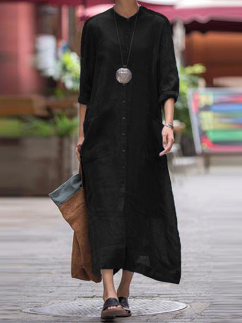 Stand Collar Cotton Pockets Casual Dress