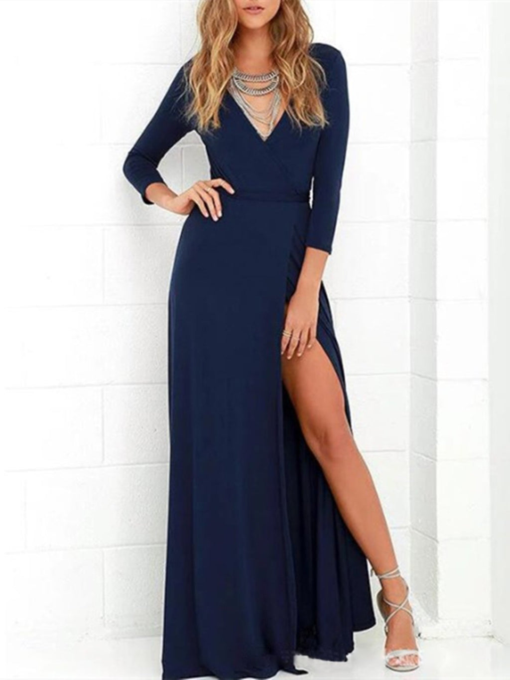 Sexy Fashion Plus Size V Neck Casual Long Sleeve Wrap Evening Gowns Maxi Dresses Rikkishop