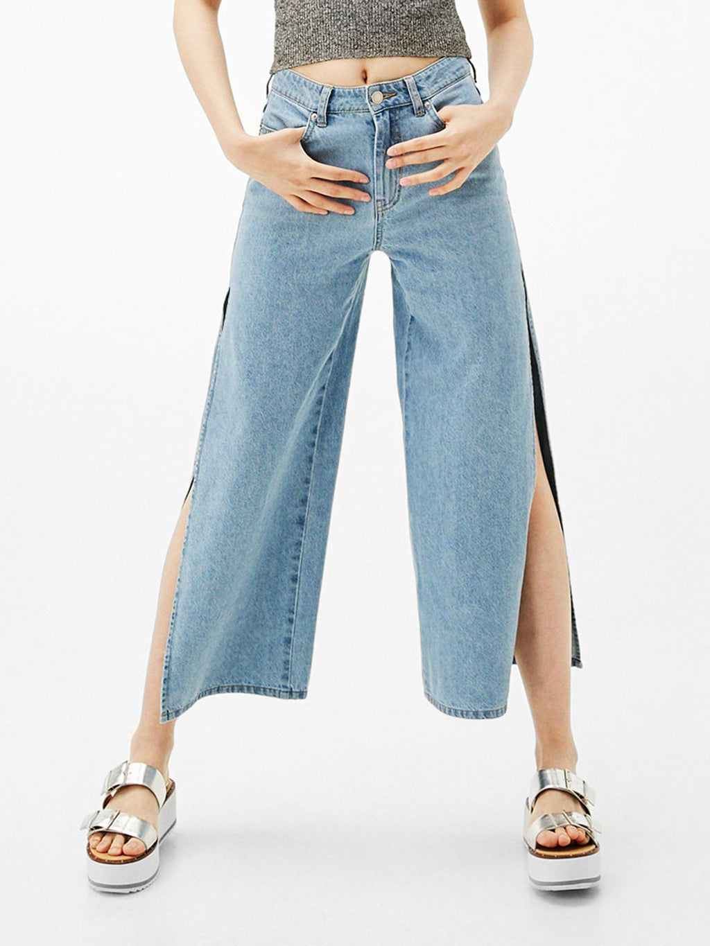Light Blue Slit Simple Denim Jeans