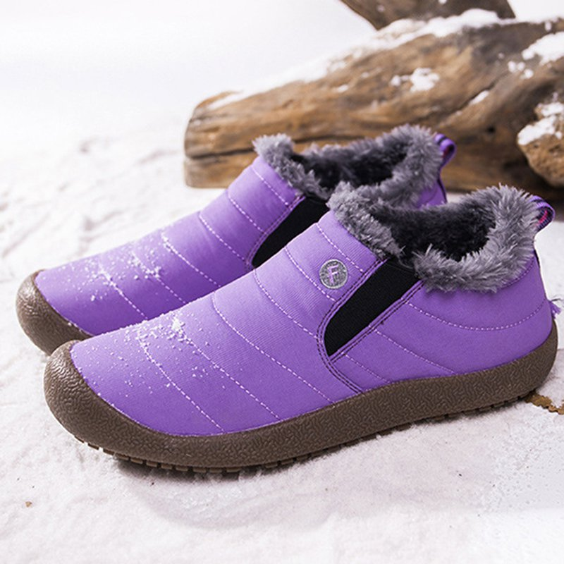 Rikkishop Large Size Unisex Waterproof Fur Lining Slip On Snow Boots