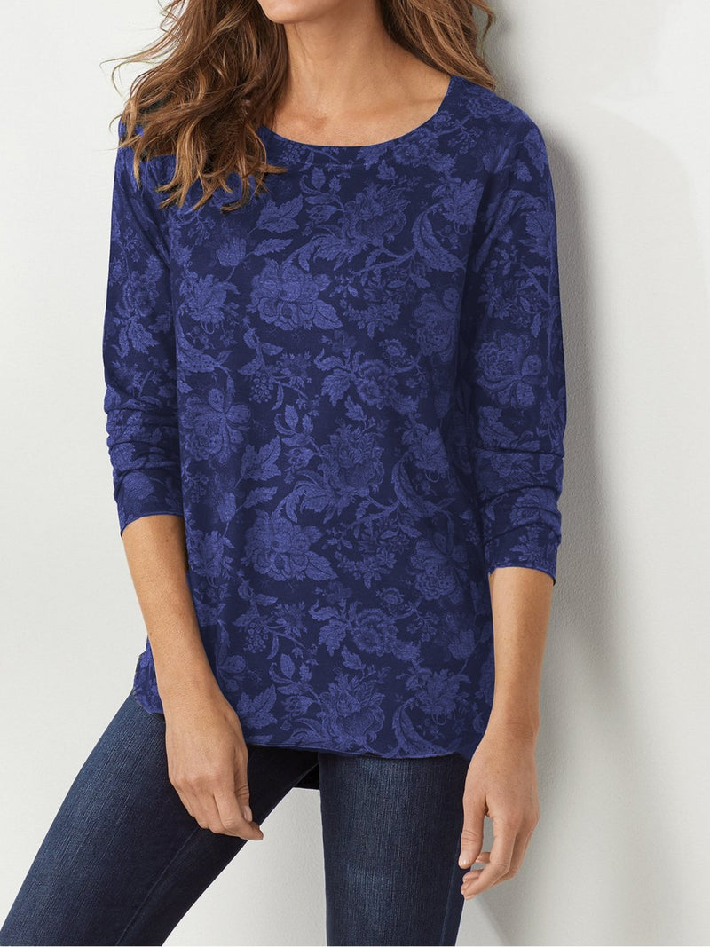 Casual Floral Round Neck Long Sleeve Shirts & Tops RIKKISHOP