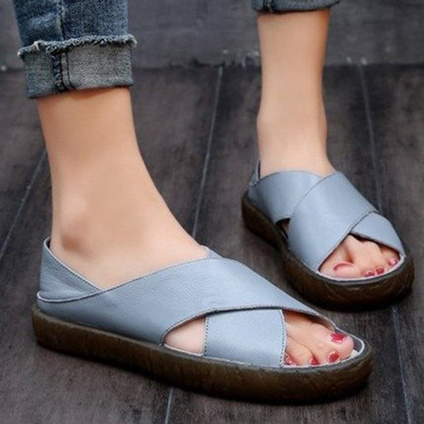 Women Faux Leather Sandals Casual Comfort Peep Toe Sandals