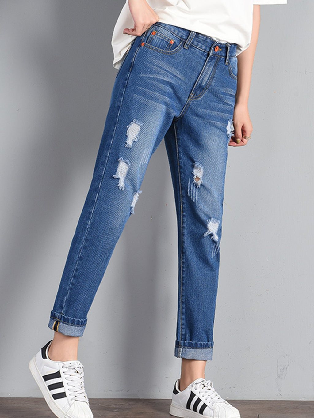 Plus size Denim Ripped Pants