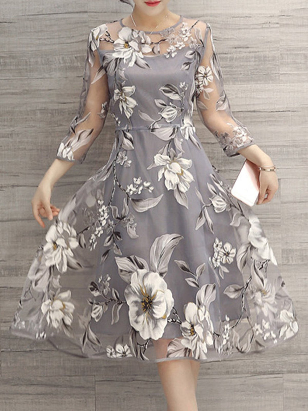 Gray A-line Women Going out 3/4 Sleeve Party Printed Floral Elegant Dress