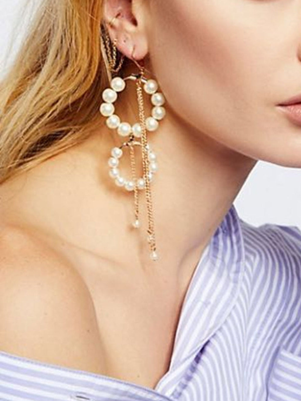 Cultured Pearl Tassel Earrings